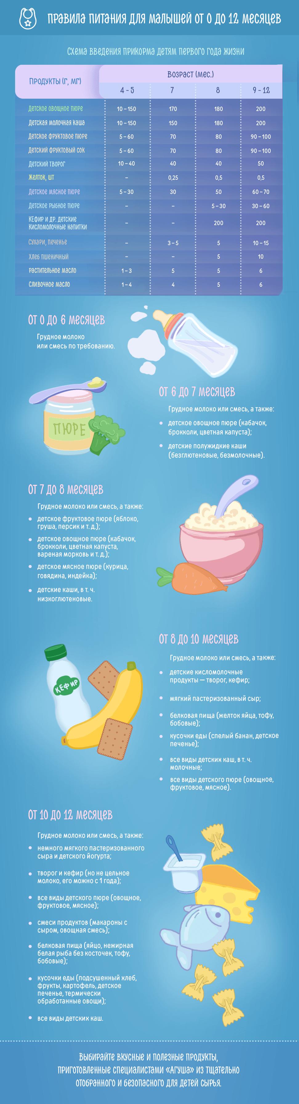 Правила питания для малышей от 0 до 12 месяцев