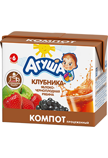 Компот Агуша Клубника-яблоко-рябина, 0,2 л