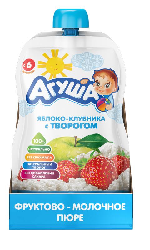 Фруктово-молочное пюре детское Агуша Яблоко-клубника с творогом