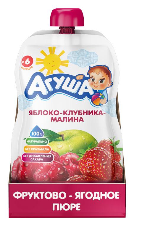 Фруктово-ягодное пюре Агуша Яблоко-клубника-малина, 90 г