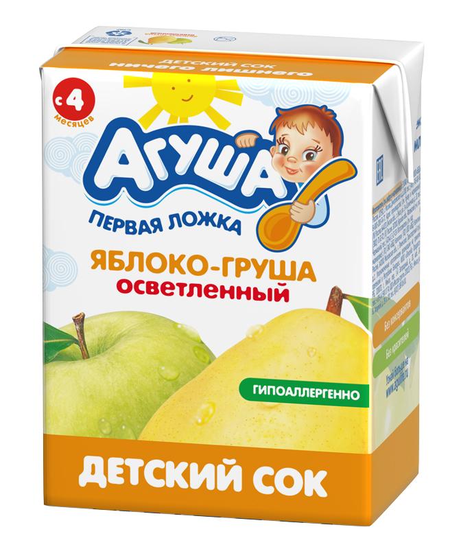 Сок гипоаллергенный осветленный без сахара детский Агуша Яблоко-груша