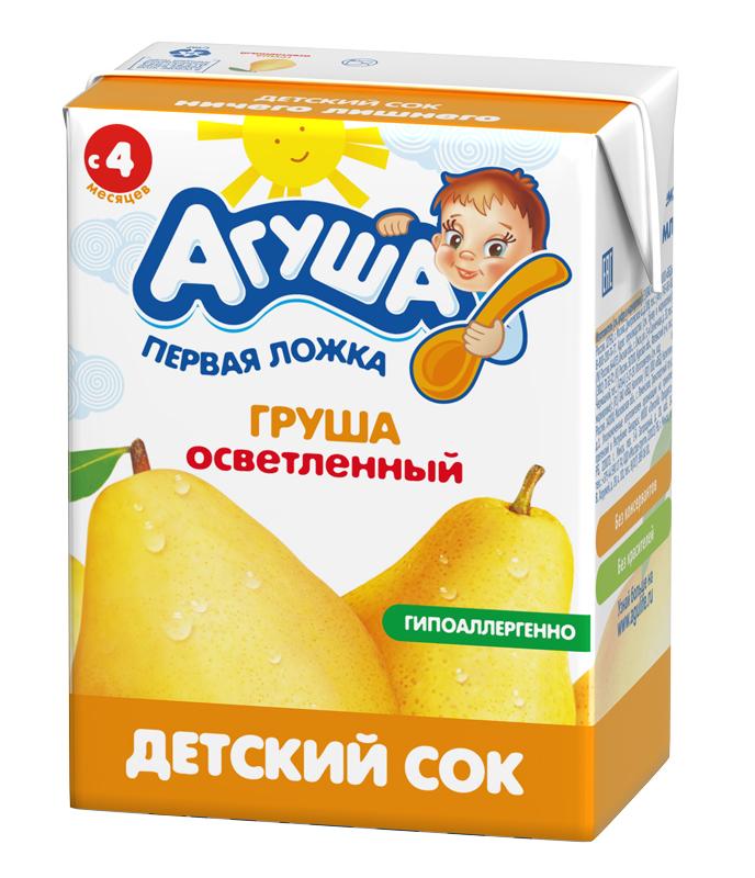 Сок гипоаллергенный осветленный  без сахара детский Агуша Груша