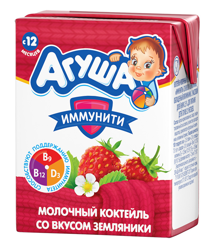 Молочный коктейль Агуша Иммунити Земляника, 200 мл
