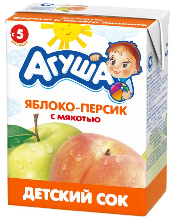 Сок с мякотью без сахара детский Агуша Яблоко-персик