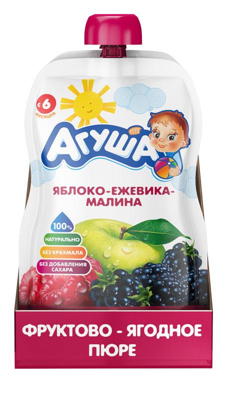 Фруктово-ягодное пюре детское Агуша Яблоко-ежевика-малина