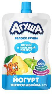Йогурт непроливайка детский Агуша Я Сам! ложка больше не нужна! Яблоко-груша