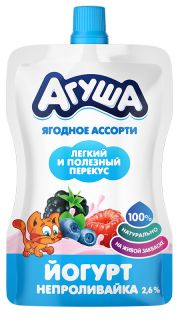 """Йогурт Агуша непроливайка """"Я Сам"""" Ягодное ассорти, 85 г"""
