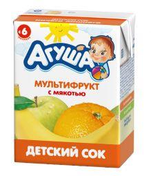 Сок с мякотью без сахара детский Агуша Мультифрукт