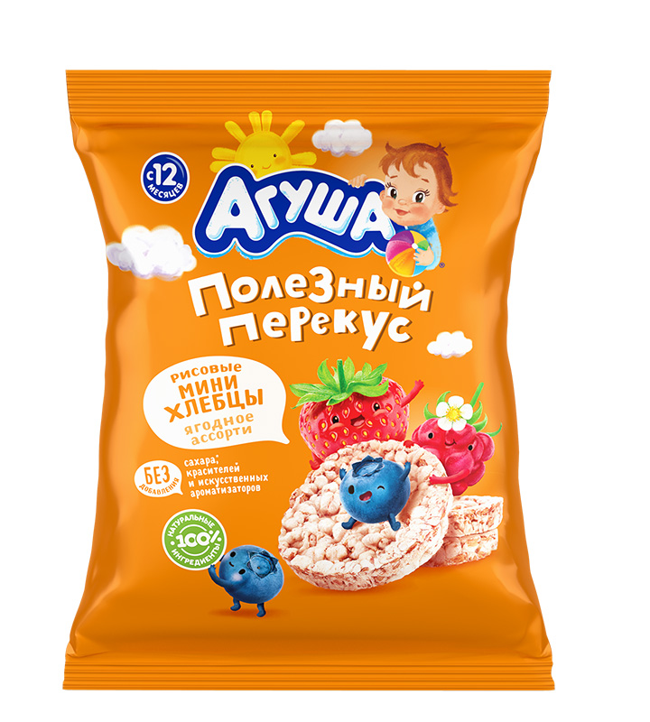 Мини-хлебцы рисовые Агуша ягодное ассорти, 30 г