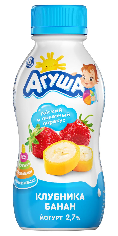 Йогурт питьевой детский Агуша Клубника-банан