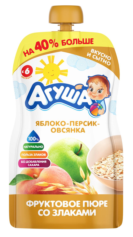 Фруктовое пюре Агуша со злаками Яблоко-персик-овсянка, 130 г