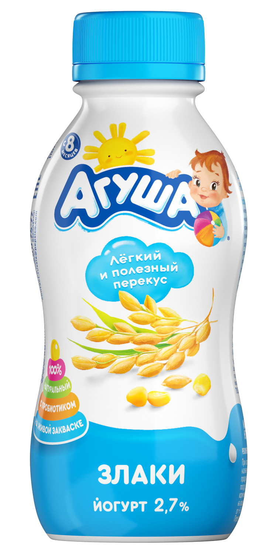 Йогурт Агуша Злаки питьевой, 200 г