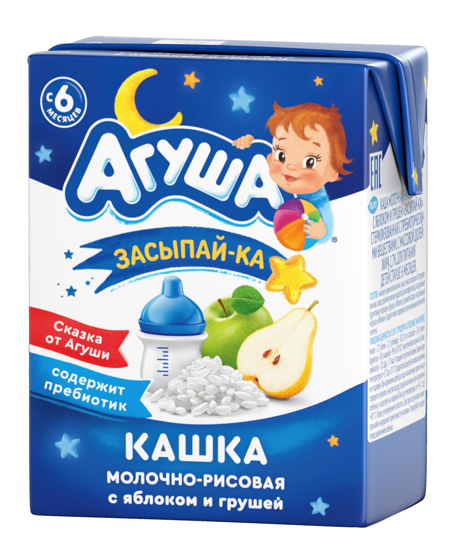 Кашка «Засыпай-ка» Агуша содержит пребиотик Молочно-рисовая с яблоком и грушей