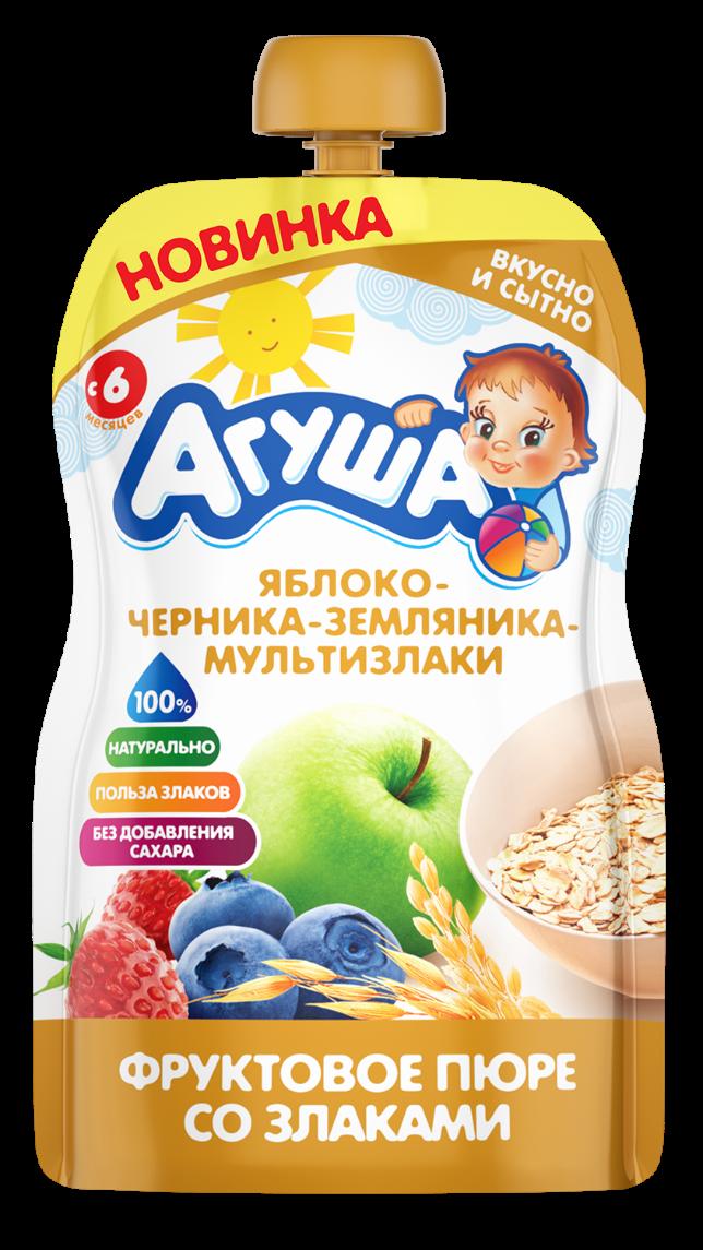 Фруктовое пюре со злаками детское Агуша Яблоко-черника-земляника-мультизлаки