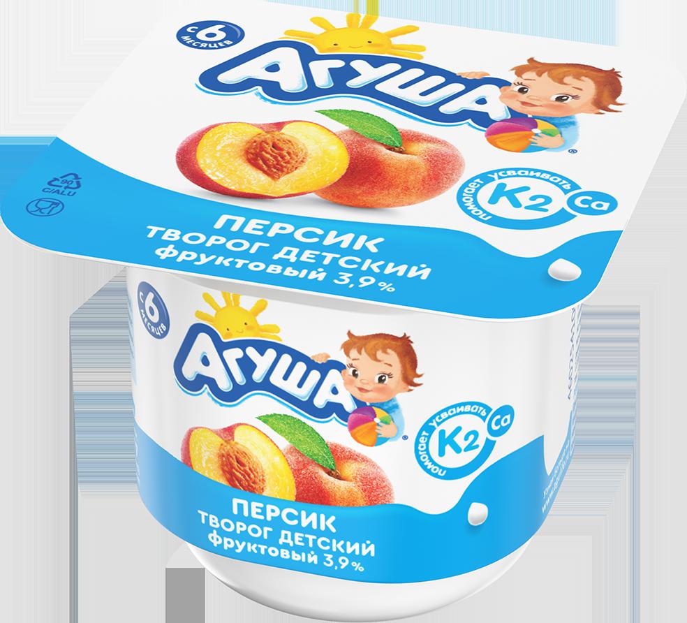 Творог фруктовый детский Агуша с натуральным витамином К2 Персик