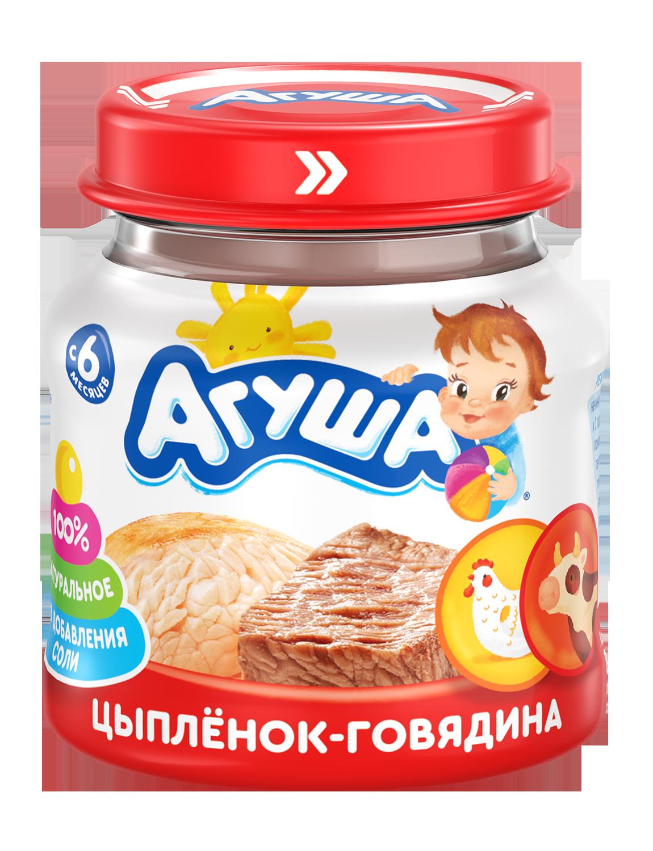 Мясное пюре Агуша Цыпленок-говядина, 80 г