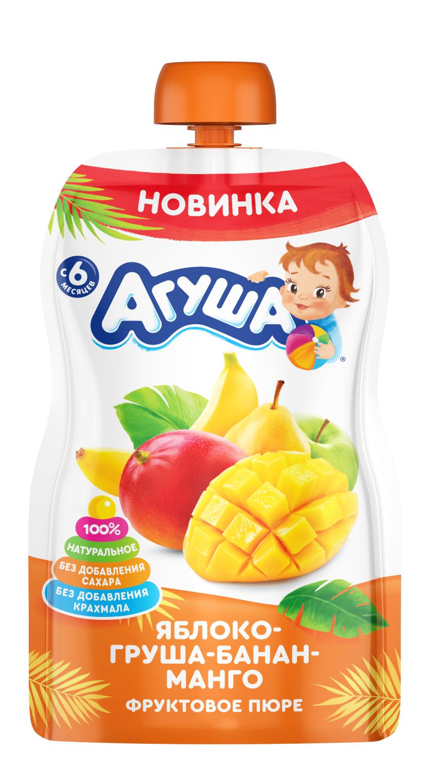 Фруктовое пюре Агуша Яблоко-груша-банан-манго, 90 г