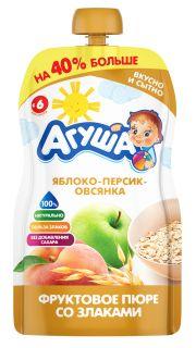 Фруктовое пюре со злаками детское Агуша Яблоко-персик-овсянка