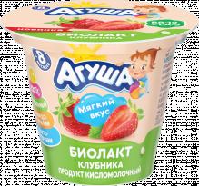 Биолакт Агуша сладкий, кисломолочный продукт, Клубника, 90 г