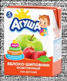 Сок Агуша Яблоко-шиповник осветленный, 200 мл