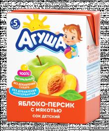 Сок Агуша Яблоко-персик с мякотью, 200 мл