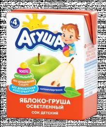 Сок Агуша Яблоко-Груша, осветленный 200 мл