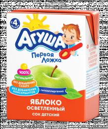 Сок Агуша Яблоко осветленный, 200 мл