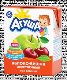 Сок Агуша Яблоко-вишня 200 мл, осветленный