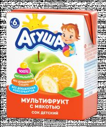 Сок Агуша Мультифрукт 200 мл, с мякотью