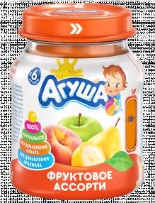 Фруктовое пюре Агуша Фруктовое ассорти, 115 г