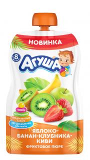 Фруктовое пюре Агуша Яблоко-банан-клубника-киви, 90 г