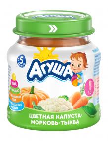 Овощное пюре Агуша Цветная капуста-морковь-тыква, 80 г