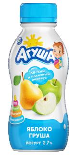 Йогурт Агуша питьевой Яблоко-Груша, 180 г