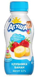 Йогурт Агуша питьевой Клубника-банан, 180 г