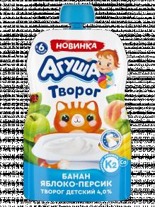 Творог Агуша банан-яблоко-персик, 80 г